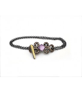Soul silver bracelet with laminated yellow gold, colored cabochons and chain with adjusting long system