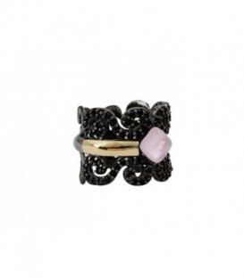 New Caviar silver ring with laminated yellow gold, champagne CZ pavé and color stones.