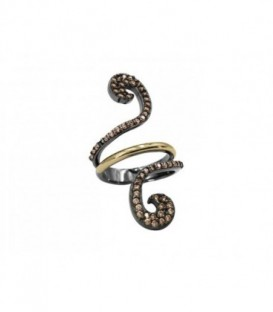New Caviar silver earringst with laminated yellow gold, Black Spinels pavé, color stones and omega back system.