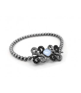 New Caviar silver bracelet with laminated yellow gold, Black Spinel pavé, color stones and chain with self-adjusting long system