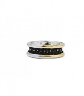 New Caviar silver ring with laminated yellow gold, Black Spinels pavé and color stones.