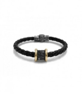 New Caviar silver necklace with laminated yellow gold, Black Spinels pavé, color stones and tubular 2 sizes chain.