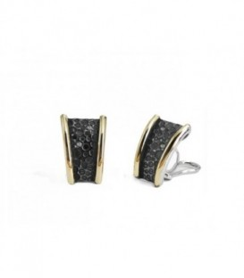 New Caviar silver earringst with laminated yellow gold, champagne CZ pavé, color stones and omega back system.